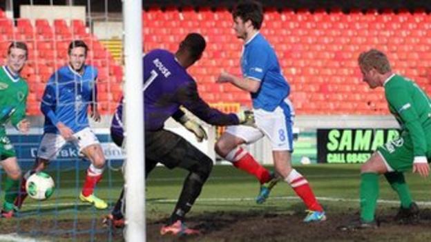 Philip Lowry puts Linfield into the lead against Ballinamallard