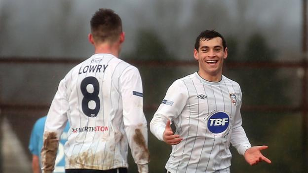 David McDaid put Coleraine ahead against Ballymena but the derby game ended 2-2 at the Showgrounds