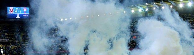 Smoke bomb - Villarreal v Celta Vigo