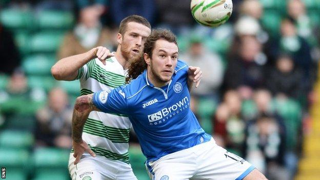 St Johnstone striker Stevie May had few chances to threaten Celtic