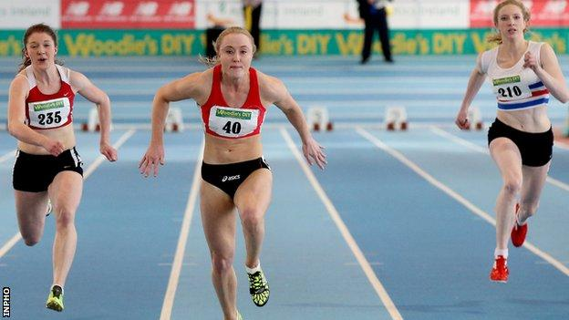Amy Foster wins the 60m in Athlone