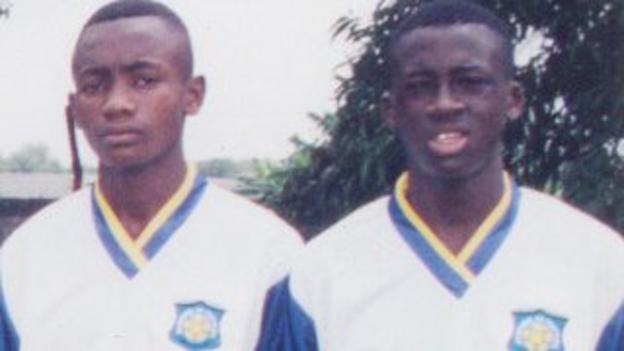 Yaya Toure (r) with Salomon Kalou during his time with ASEC Mimosas