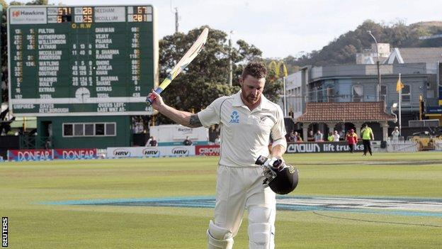 Brendon McCullum walks off at the end of day four