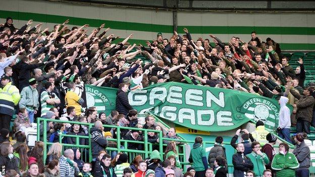 Celtic fans at the game against St Johnstone