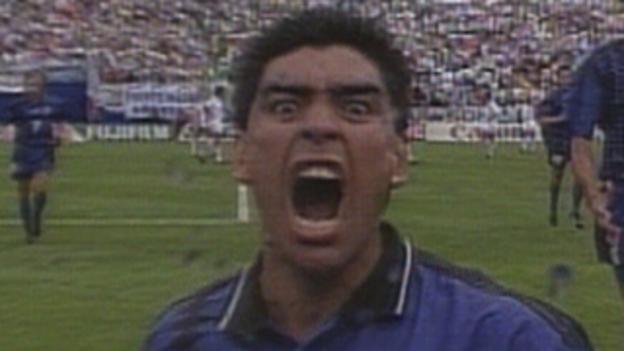 Diego Maradona scores against Greece