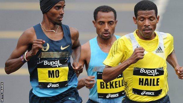 Mo Farah and Haile Gebrselassie