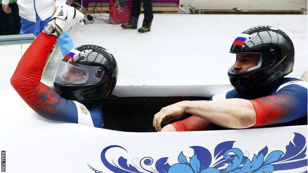 Olympic bobsleigh champions Alexander Zubkov and Alexey Voevoda of Russia