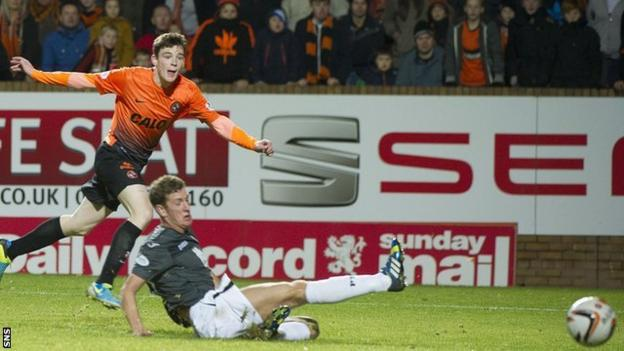 Dundee United's Andrew Robertson scores against Partick Thistle