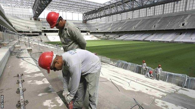 Work continues in the Arena da Baixada stadium in Curitiba