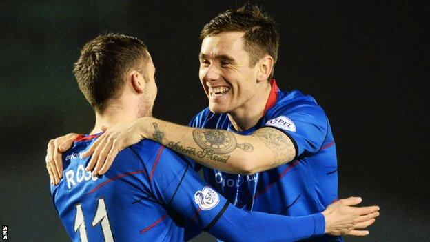 Greg Tansey (right) congratulates team-mate Nick Ross on his third minute goal