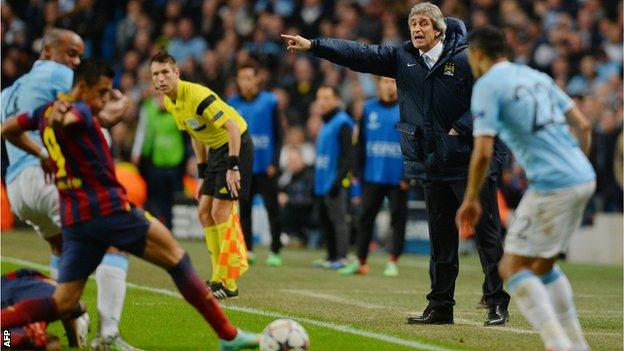 Manchester City manager Manuel Pellegrini was angered by the referee's performance during his side's 2-0 loss to Barcelona