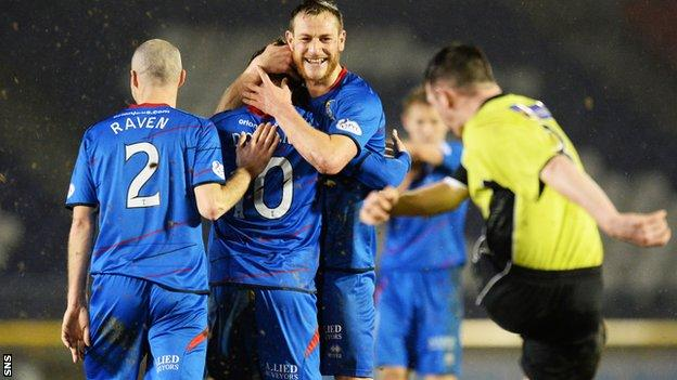 Inverness CT celebrate during the Scottish Cup victory over Stranraer