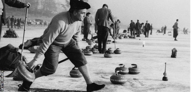 Curling on Loch Leven in Kinross in 1959