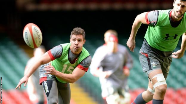 Wales scrum-half Rhys Webb during their final team run before taking on France in the Six Nations on Friday