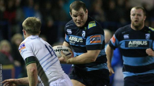 Cardiff Blues prop Sam Hibbs takes on Leinster wing Luke Fitzgerald as the home side suffer a 22-34 home defeat.