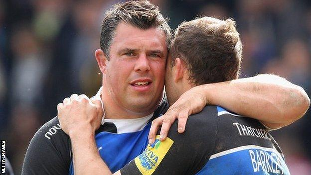 Duncan Bell at the end of his final game with Bath