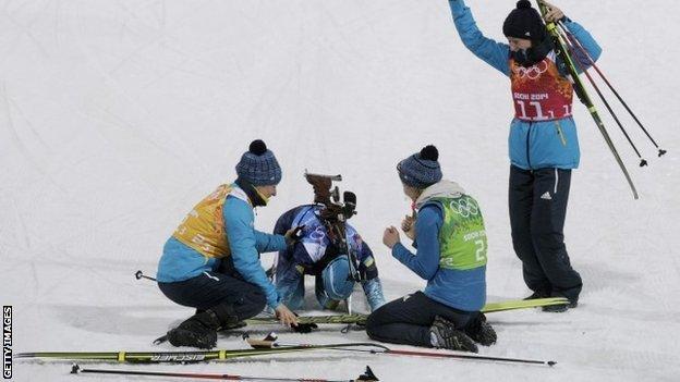 (left to right) Valj Semerenko, Olena Pidhrushna, Juliya Dzhyma and Vita Semerenko of Ukraine