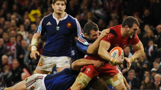 Captain Sam Warburton drives forward to score Wales' second try in the convincing 27-6 win over France.
