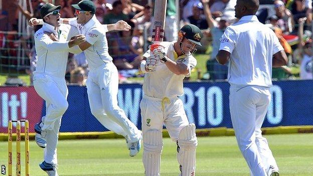 Australia batsman David Warner is caught by Graeme Smith off Vernon Philander in the second Test