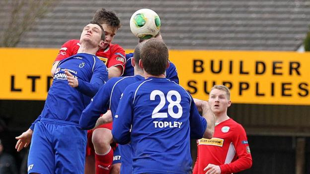 Aerial action from Dungannon's game with Cliftonville at Stangmore Park on Saturday