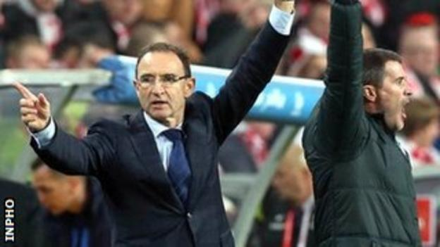 Republic of Ireland boss Martin O'Neill and his assistant Roy Keane