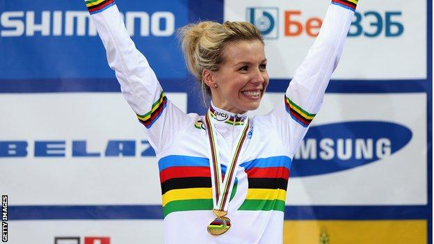 Becky James with her rainbow jersey after winning a world title in 2013