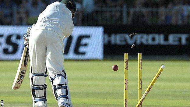 Australia's Brad Haddin is comprehensively bowled by Dale Steyn in Port Elizabeth