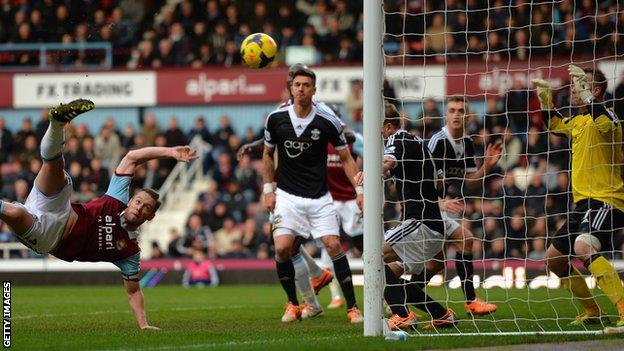 Kevin Nolan of West Ham scores against West Ham
