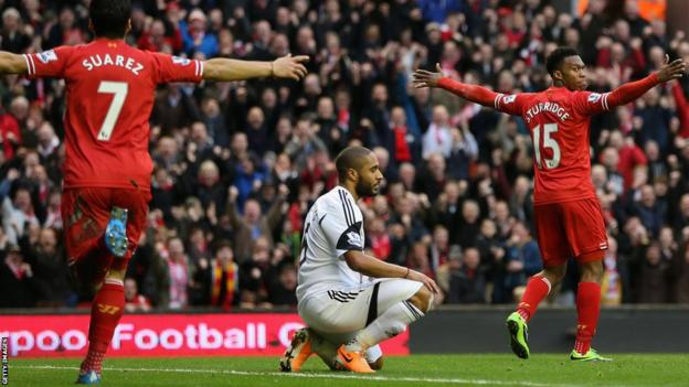 But Sturridge scores Liverpool's third goal and the hosts go on to win 4-3