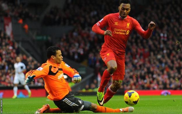 Daniel Sturridge beats Swansea goalkeeper Michel Vorm to score Liverpool's Premier League opener at Anfield