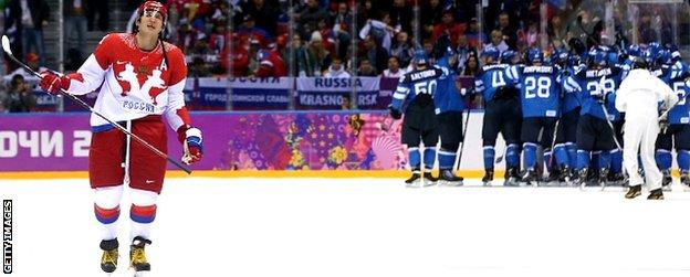 Russia's men lost to Finland in the ice hockey quarter-finals
