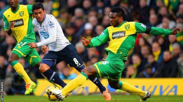 Joseph Yobo tackles Paulinho during Norwich's Premier League match with Tottenham.
