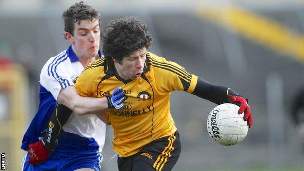 Sean Cavanagh battles with Connacht's Joss Moore at Tuam