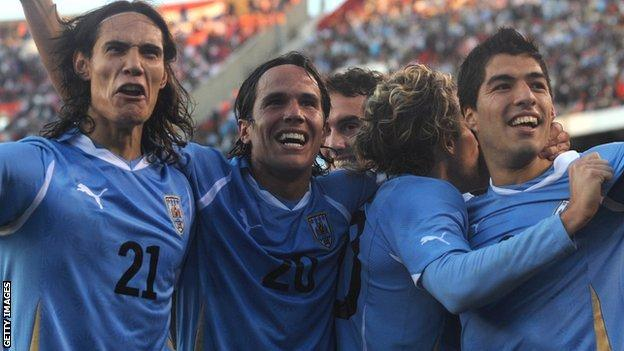 Uruguay's Edinson Cavani (left) and Luis Suarez (right) will be a real threat to Roy Hodgson's England at this summer's World Cup