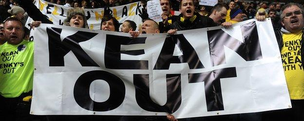 Blackburn Rovers fans hold up a 'Kean out' banner during Steve Kean's time in charge of the club