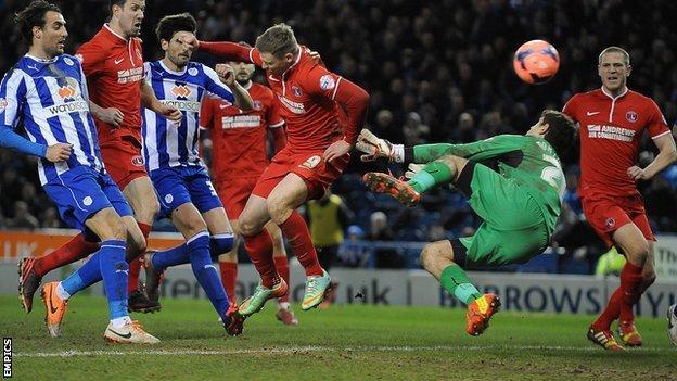 Simon Church heads the winner for Charlton against Sheffield Wednesday