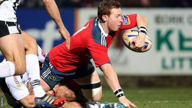 Munster's Cathal Sheridan suffers a broken arm against Ospreys