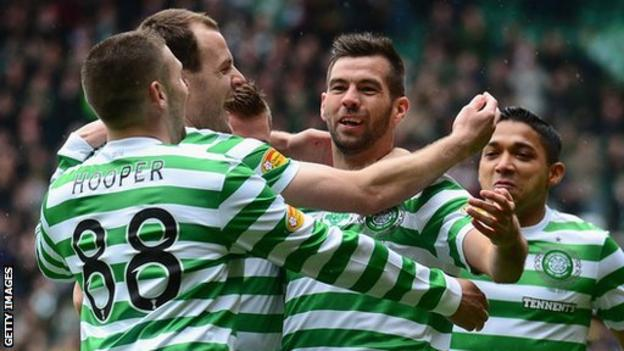 Joe Ledley celebrates scoring for Celtic