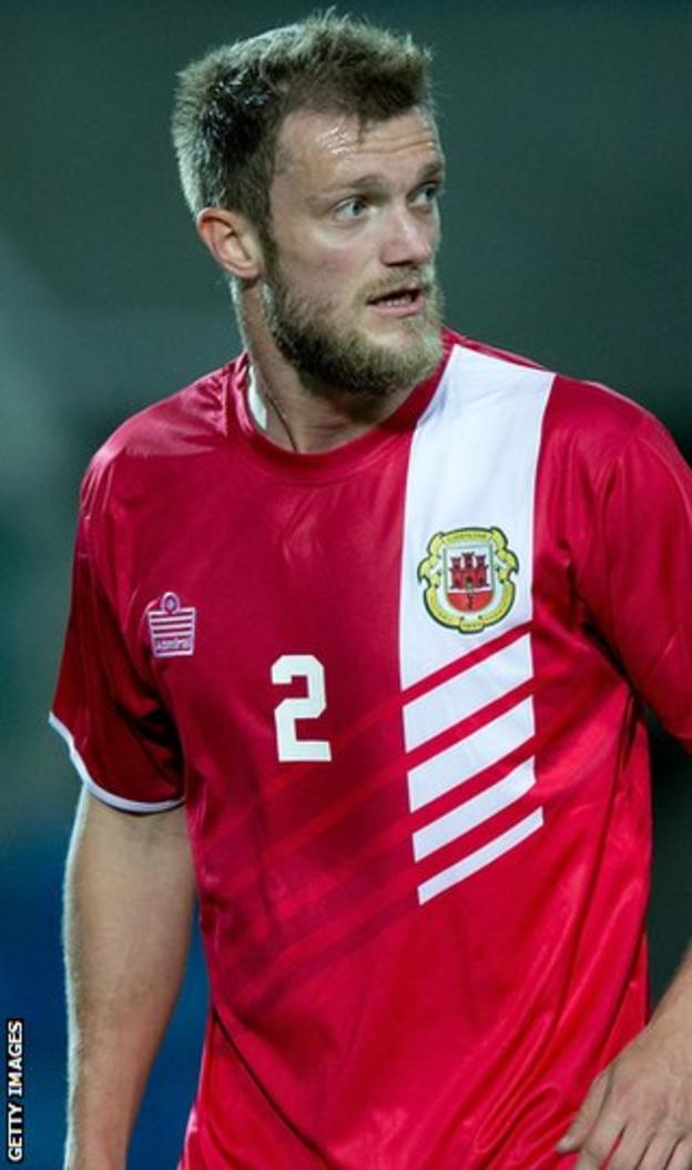Scott Wiseman played for Gibraltar against Slovakia