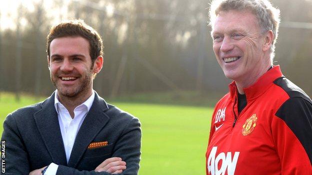 Juan Mata and David Moyes