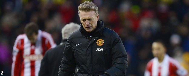 David Moyes dejected after Manchester United lose at Stoke