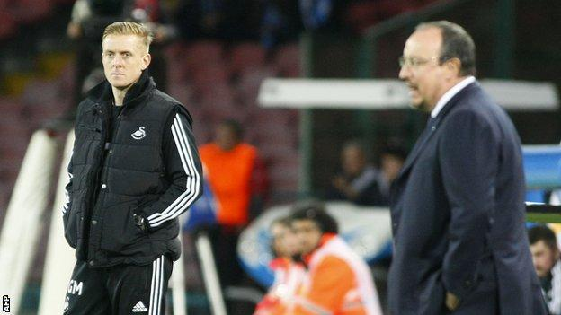 Garry Monk and Napoli coach Rafa Benitez