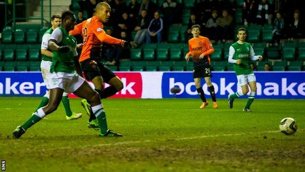 Farid El Alagui scored Dundee United's third goal in their 3-1 win over Hibernian