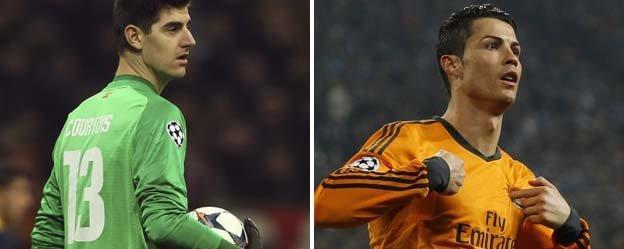 Thibaut Courtois and Cristiano Ronaldo