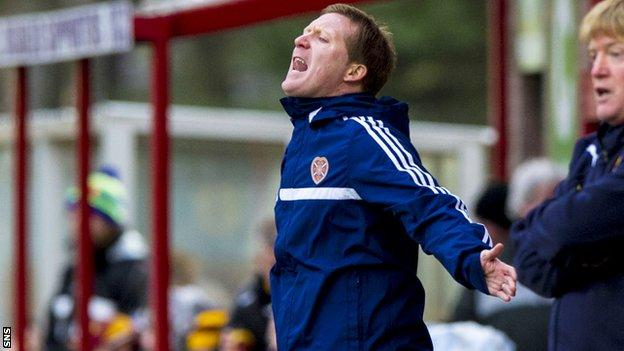 Gary Locke was frustrated as his Hearts side lost 4-1 to Motherwell
