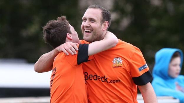 Guy Bates was the hat-trick hero as Glenavon beat Ballinamallard 3-0 in the Irish Cup sixth round at Ferney Park