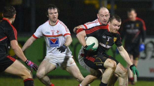 Brendan McArdle in action for Down as the Mournemen trounce Louth 4-16 to 0-9 at Pairc Esler