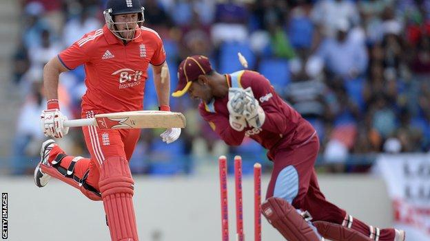 England's Tim Bresnan is run out in Antigua