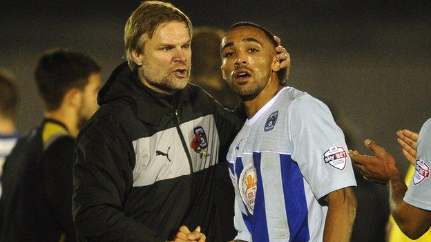Coventry City manager Steven Pressley and striker Callum Wilson