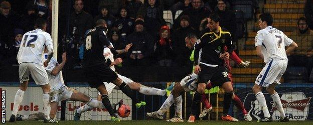 Oguchi Onyewu scores Sheffield Wednesday's second goal in their 2-1 FA Cup win at Rochdale